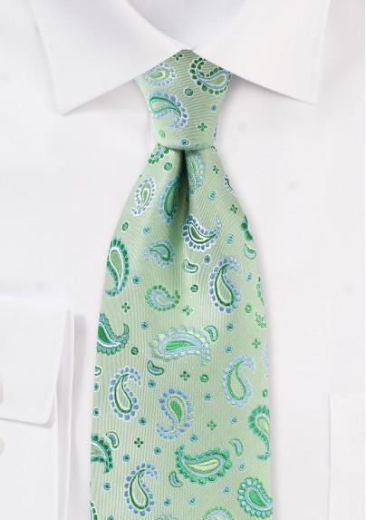 Pistachio Green Paisley Tie