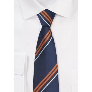 Navy and Orange Silk Tie in Skinny Cut