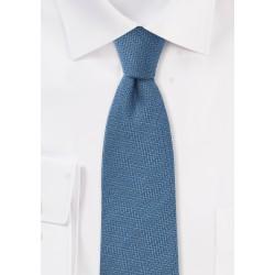 Stallar Blue Wool Skinny Tie