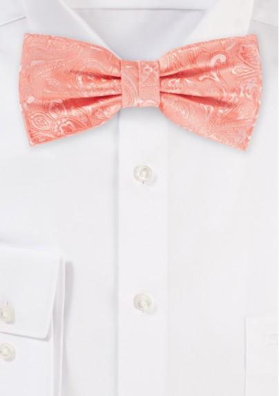Bellini Pink Mens Paisley Bow Tie