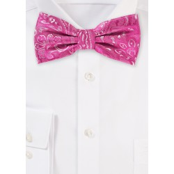Dragonfruit Pink Paisley Bow Tie