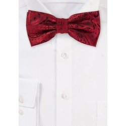 Bow Tie with Paisleys in Ruby Red