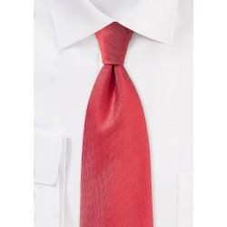 Bright Red Herringbone Textured Tie