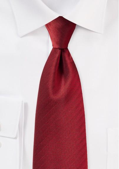 Herringbone Tie in Cherry Red