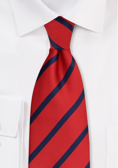Striped Tie in Brick-Red and Navy
