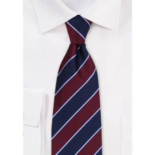 Navy and Burgundy Stripe Mens Tie