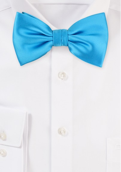 Solid Cyan Blue Men's Bow Tie