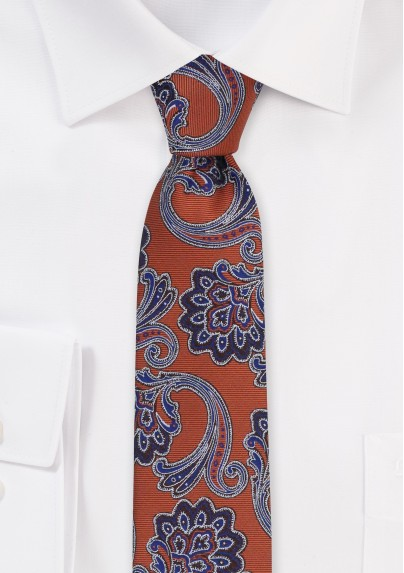 Skinny Autumn Paisley Tie in Copper