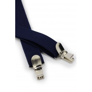 Elastic Band Suspenders in Classic Navy Clips