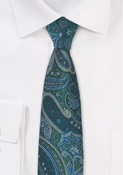 Vintage Skinny Paisley in Green and Blue