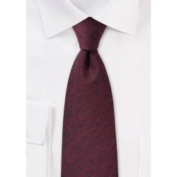 Textured Wool Tie in Wine Red