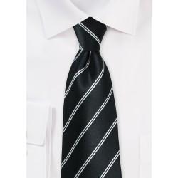 Onyx Double Striped Necktie in Silk
