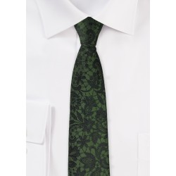 Forest Green and Black Floral Tie