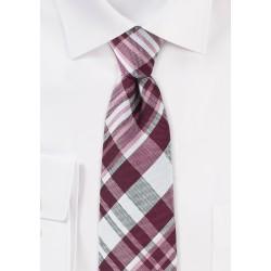 Textured Cotton Plaid Tie in Burgundy