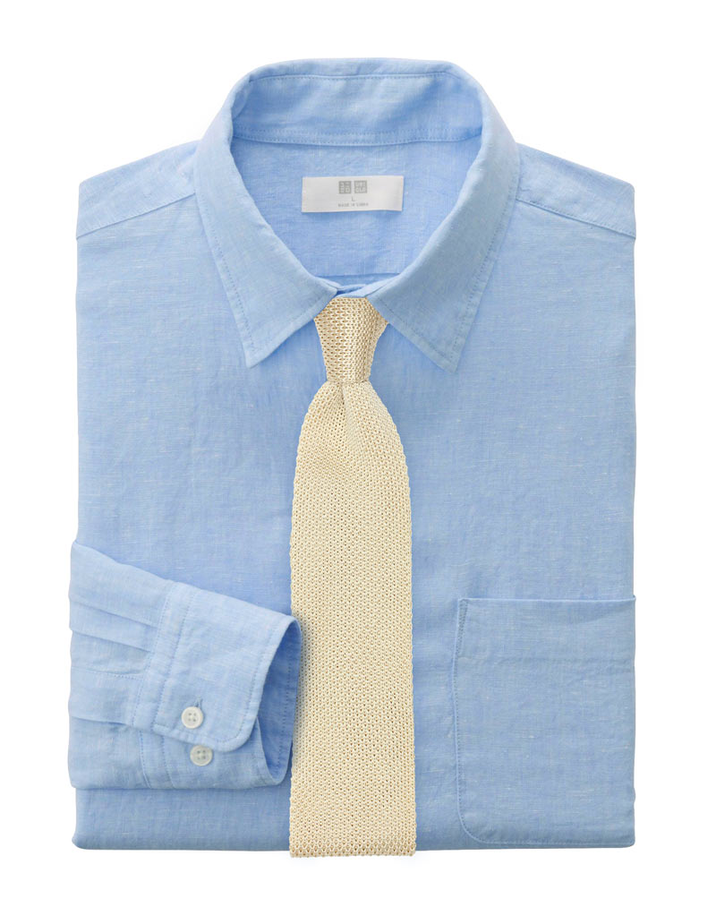 Men's Spring Style - Powder Blue Shirt + Knit Neckties