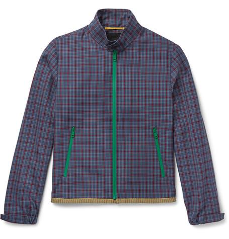 Prada Checked Wool-Jacquard Harrington Jacket