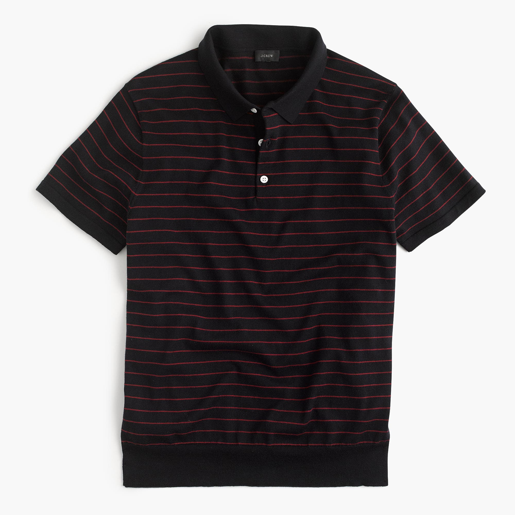 Cotton Mens Polo Shirt in Dark Navy and Red from J. Crew