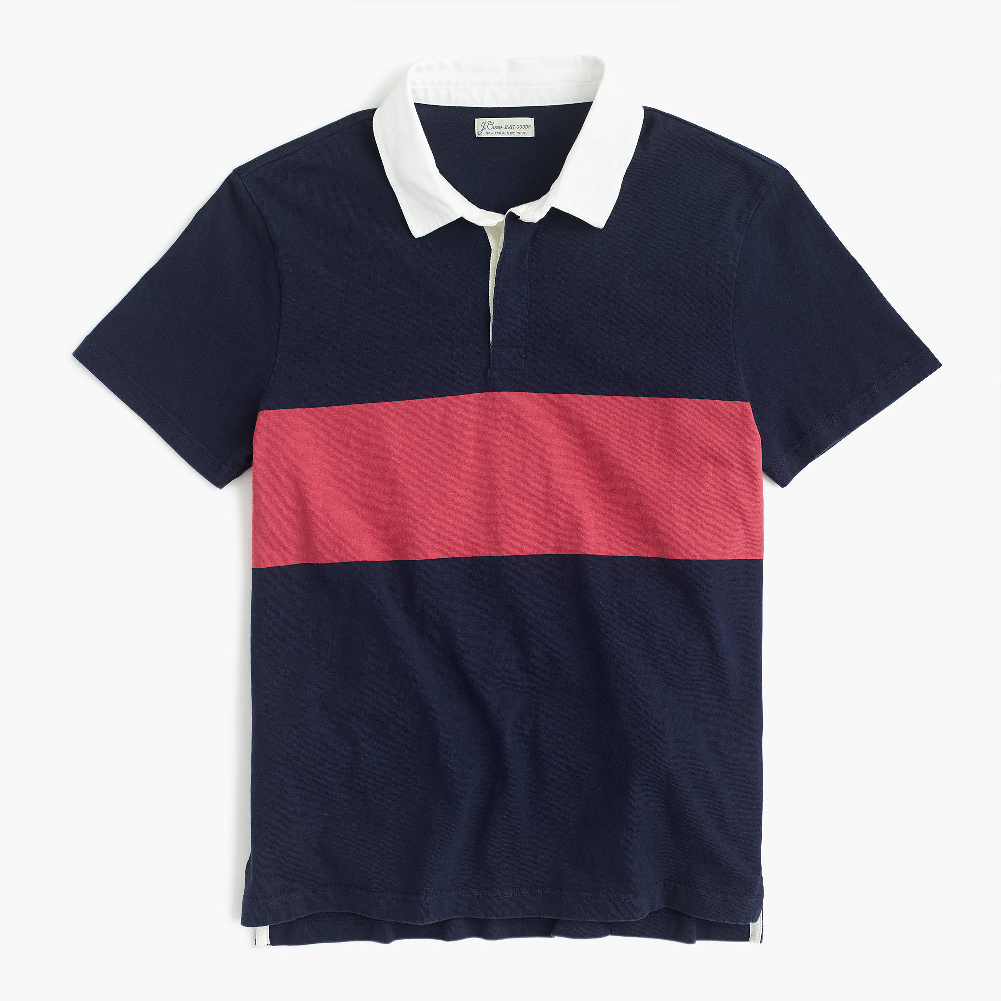 Rugby Inspired Mens Polo Shirt in Red and Navy from J. Crew