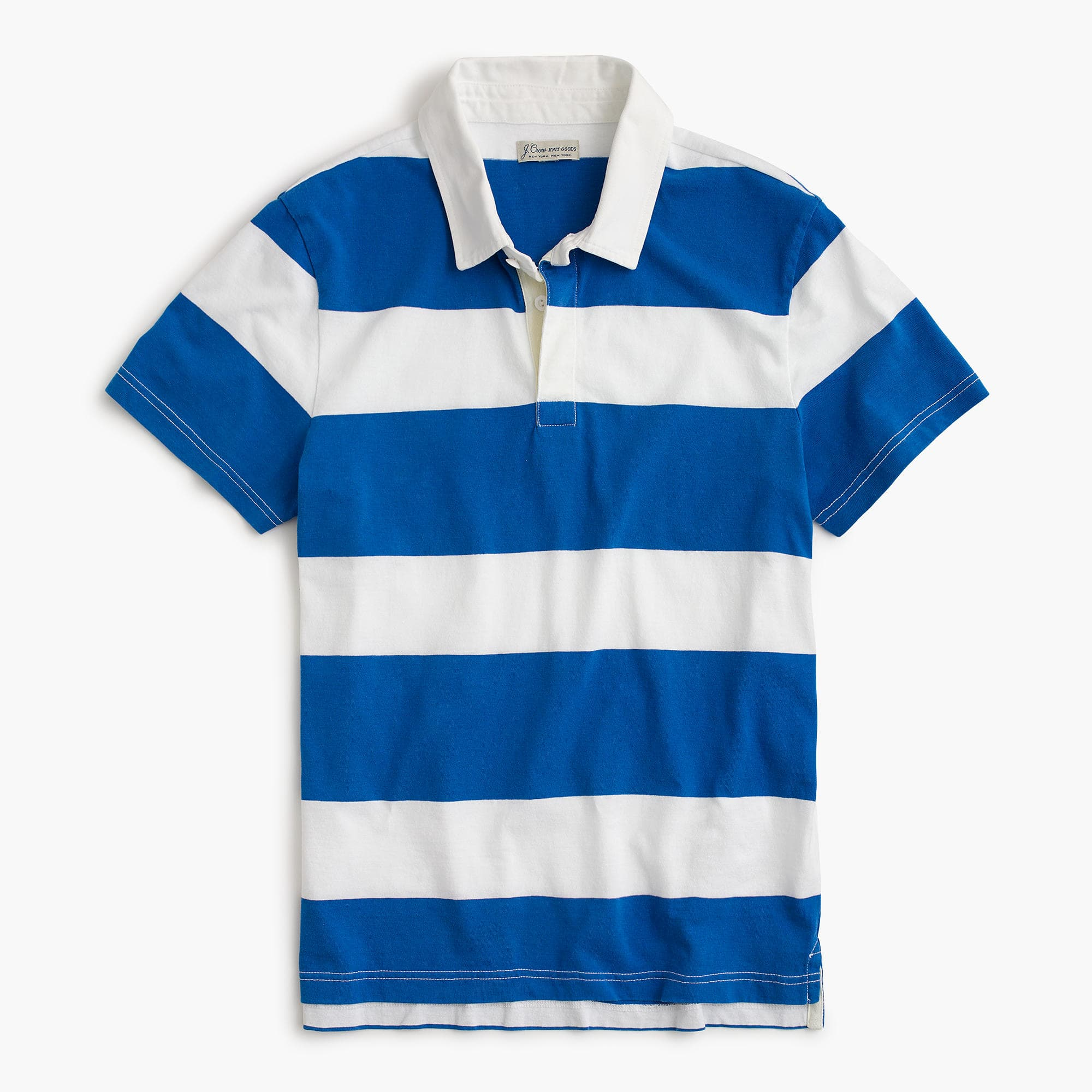 Rugby Polo Shirt in Blue and White Wide Stripes from J. Crew