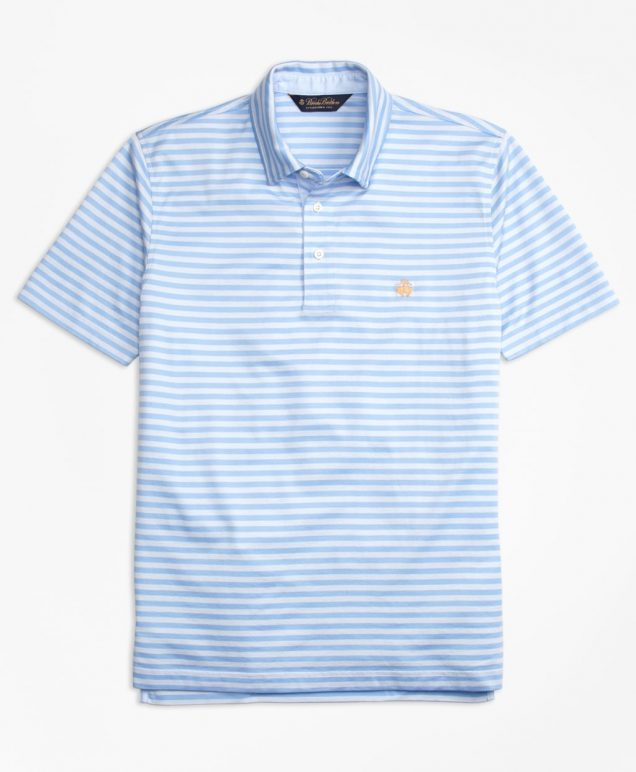 Brooks Brothers Mens Polo Shirt in Light Blue and White Stripes