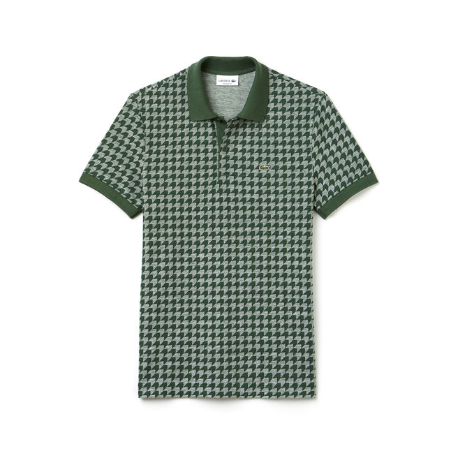Mens Houndstooth Polo Shirt in Green from Lacoste