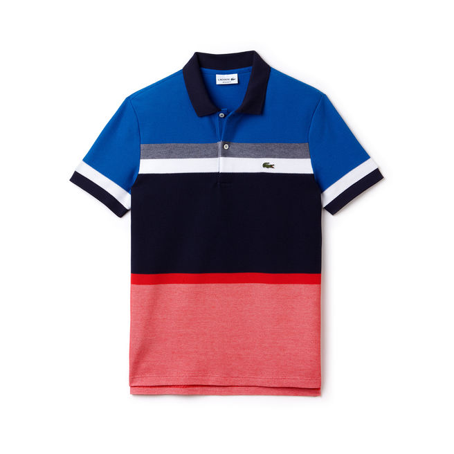 Lacoste Mens Polo Shirt in Red, Black, and Red Blocks