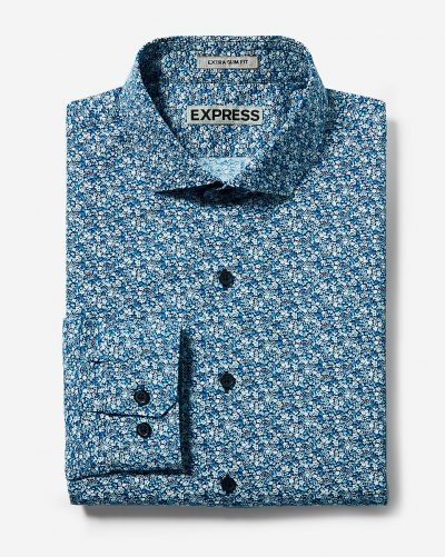 Fitted Floral Print Cotton Dress Shirt
