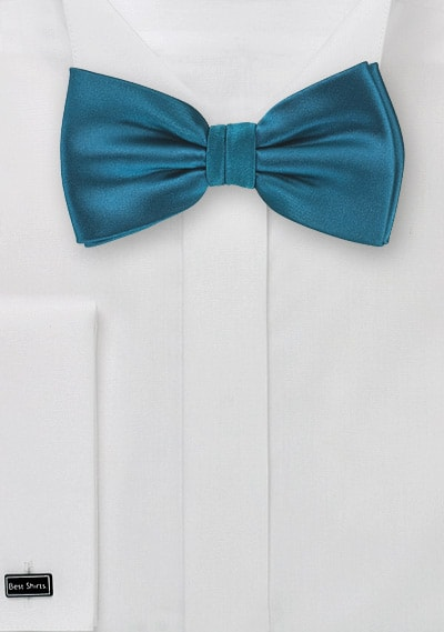 Solid Turquoise Teal Pretied Bow Tie