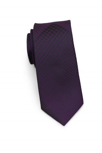 Skinny Black Necktie with Purple Geometric Plaids