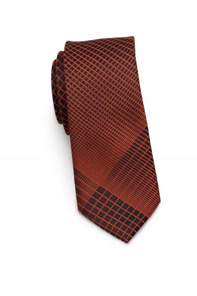 Copper and Black Plaid Tie in Slim Width