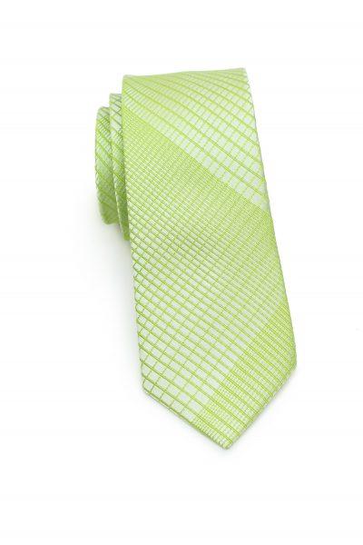 Skinny Plaid Designer Necktie in Daiquiri Green