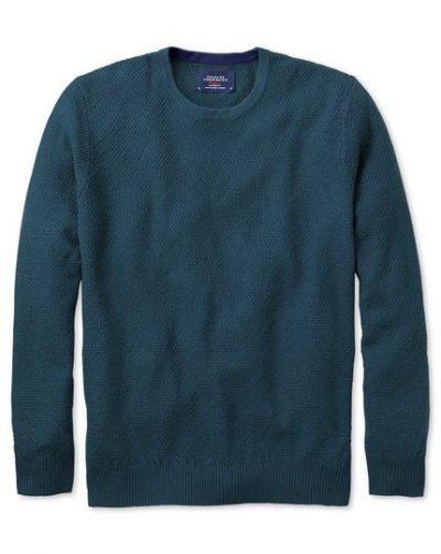 Teal merino cotton crew neck sweater