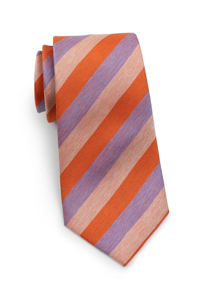 Silk Summer Necktie in Orange and Lilac