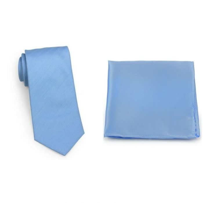 Herringbone Sky Blue Tie and Pocket Square