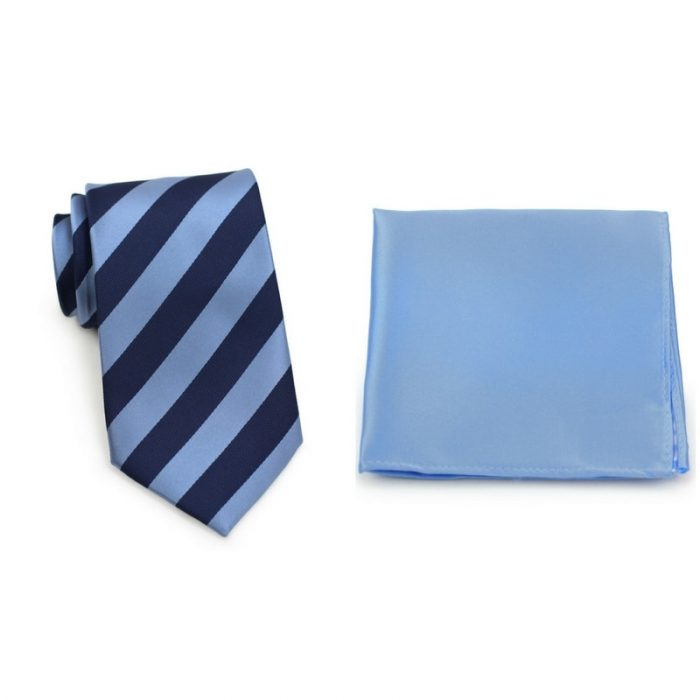 Sky Blue and Navy Striped Tie and Sky Blue Pocket Square