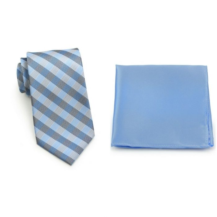 Gingham Check Necktie and Sky Blue Pocket Square