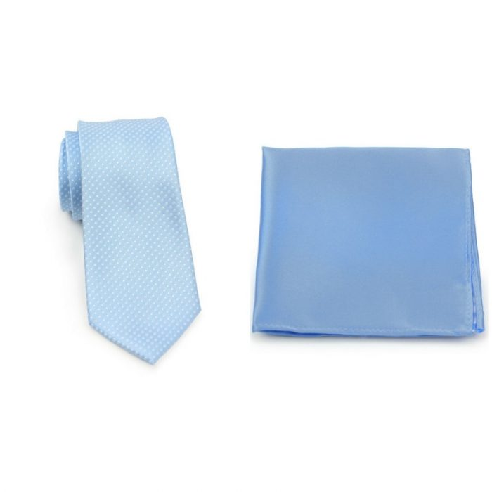 Pin Dot Powder Blue Necktie and Sky Blue Pocket Square