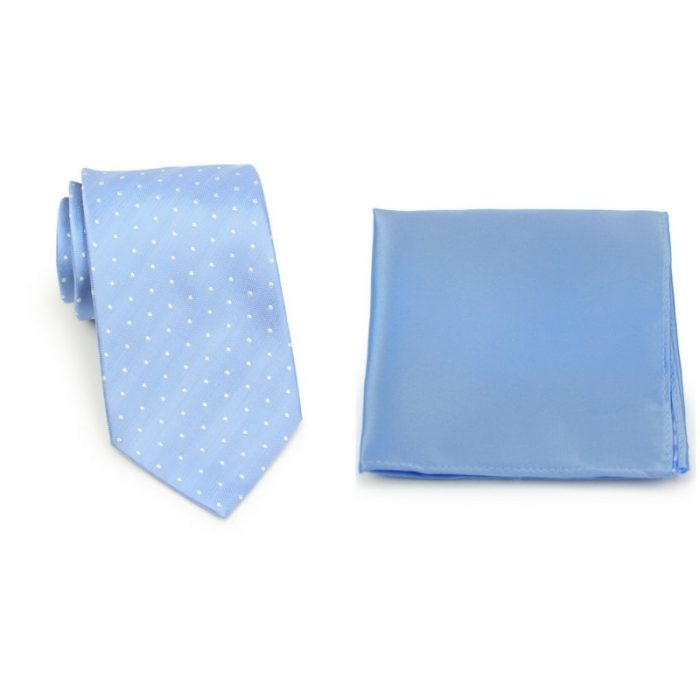 Light Blue Polka Dot Necktie and Sky Blue Pocket Square