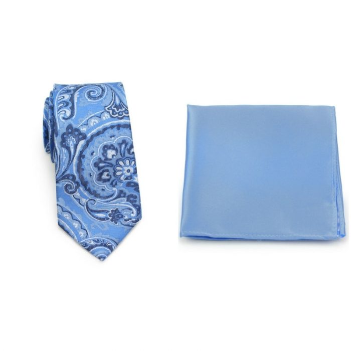 Blue Paisley Tie and Sky Blue Pocket Square