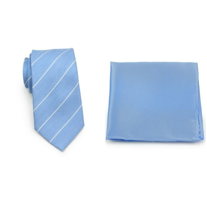 Striped Blue Skinny Tie and Sky Blue Pocket Square