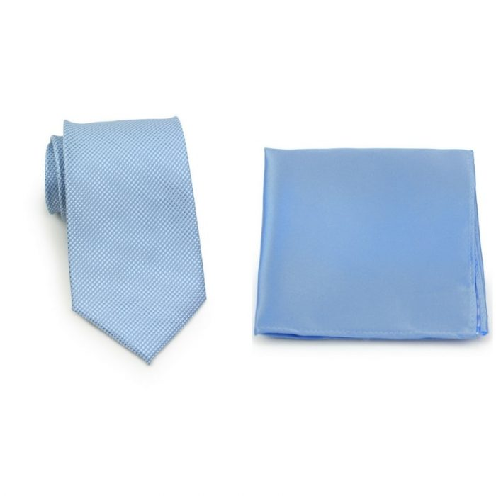 Textured Blue Necktie and Sky Blue Pocket Square