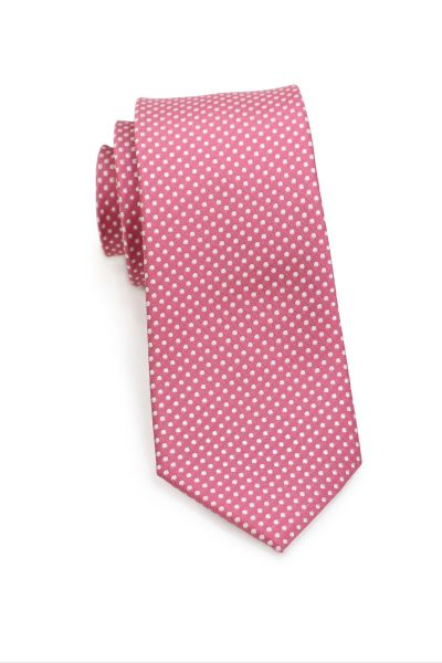 Skinny Pin Dot Necktie in Coral Pink